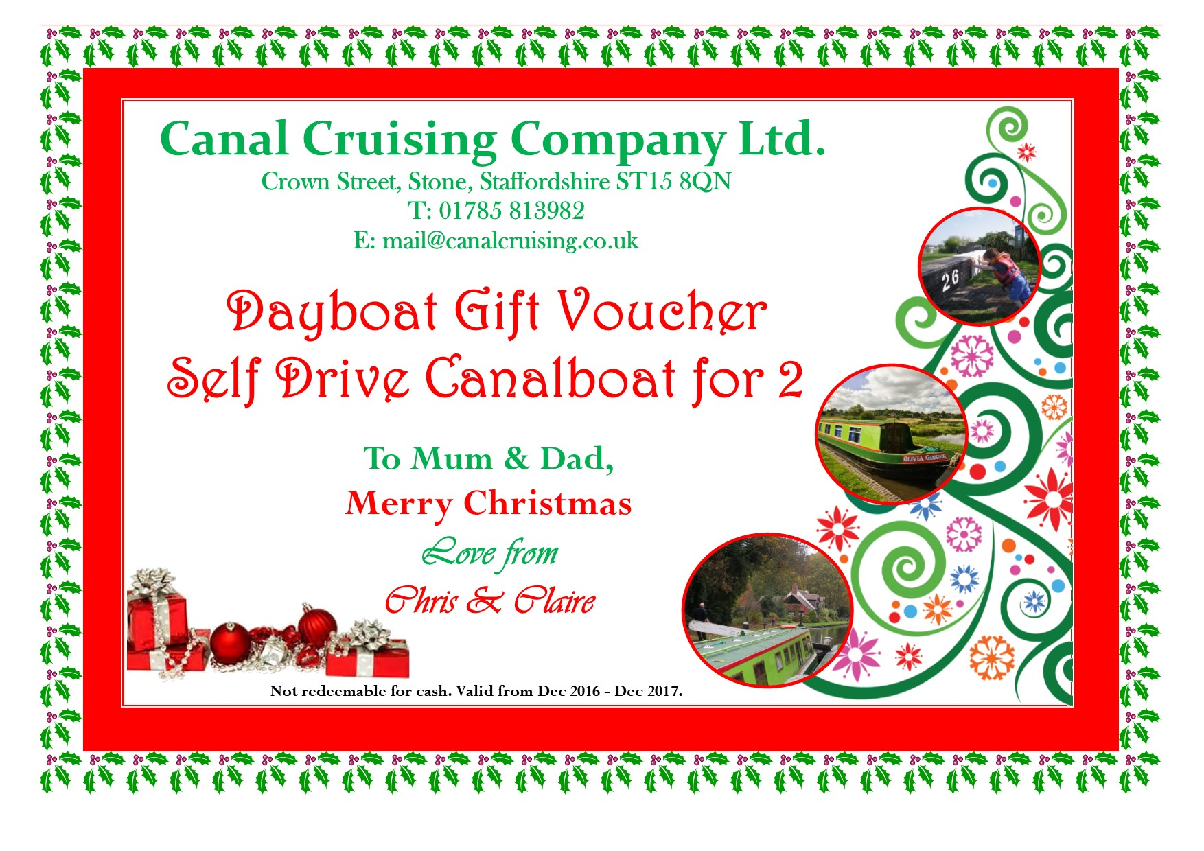 We Offer Personalised Vouchers See Examples Below.  Examples Of Vouchers