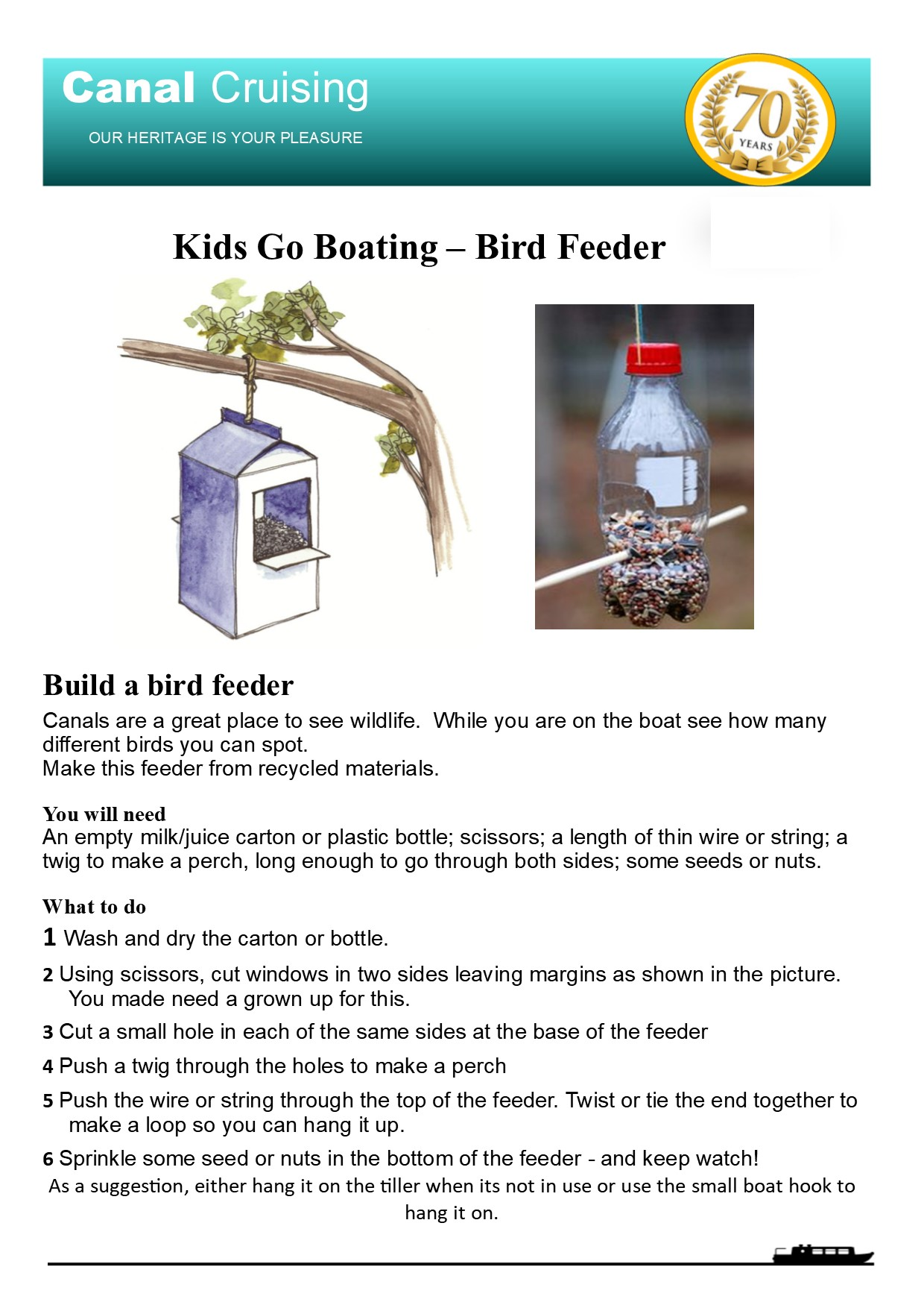 Kids Go Boating Bird Feeder
