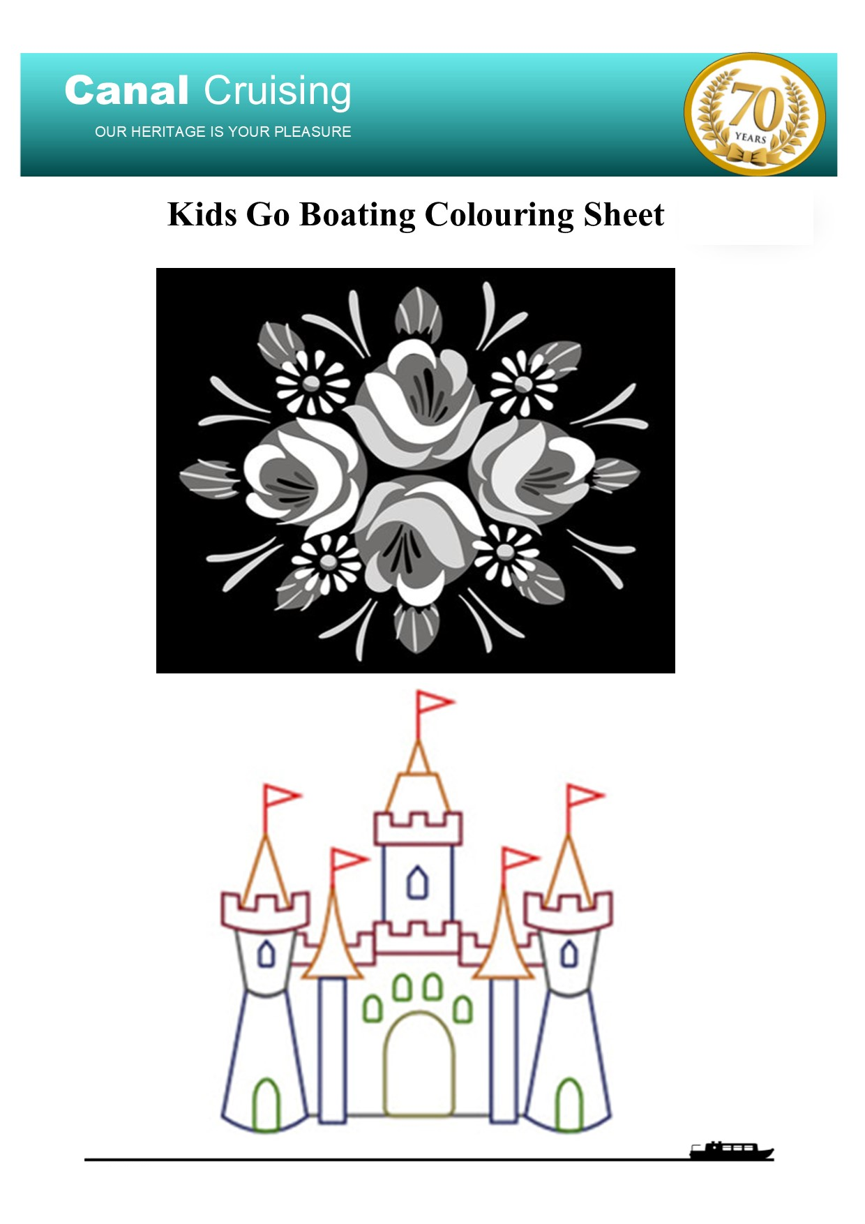 Kids go boating colouring sheet