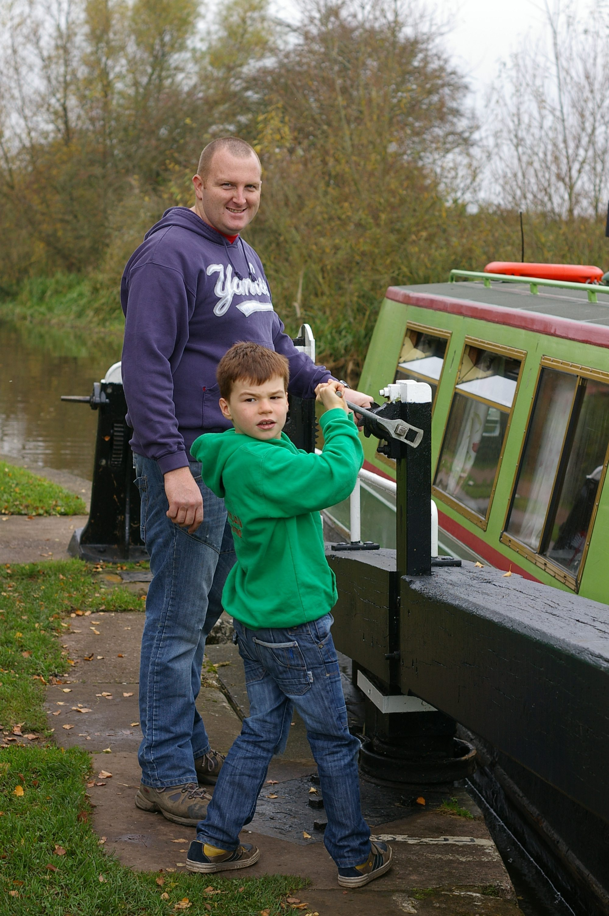 Uncle Dominic and Josh at Weston Lock